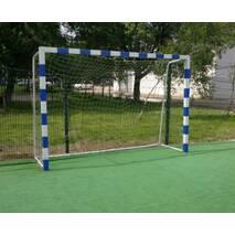 Ворота мини-футбольные 3х2 / гандбольные, разборные с полосами, передвижные  на колесах