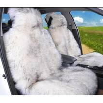 Авточохол з натуральної овчини (білий з темними кінчиками, ворс 5-7 см)