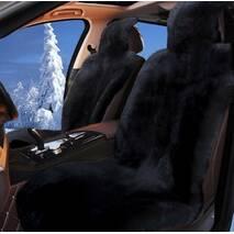 Авточохол з натуральної овчини (чорне, поліроване хутро)
