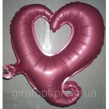 """Фольгированный куля у формі """"Серце""""  - рожевий"""