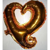 """Фольгированный куля у формі """"Серце""""  - золотий"""