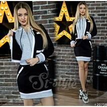 Костюм Moschino спідниця   кофта з капюшоном 20758  (чорний/сірий)