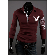 Мужская кофта красного цвета с принтом орла на спине