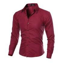Рубашка в британксом стиле длинный рукав M- 5XL красная код 1