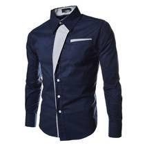 Мужская рубашка приталенная M, L, XL, XXL ( темно-синяя ) код 2