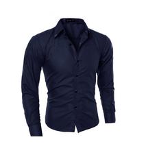 Рубашка в британском стиле длинный рукав M- 5XL темно-синяя код 1