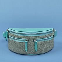 Фетровая женская поясная сумка Spirit с кожаными бирюзовыми вставками