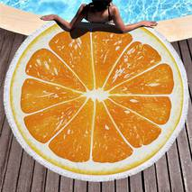 """Пляжное покрывало круглое .Подстилка.Полотенца.Коврик.""""Апельсины"""""""