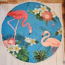 """Пляжное покрывало круглое .Подстилка.Полотенца.Коврик.""""Фламинго"""""""