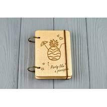 """Кишеньковий блокнот з дерева формат А7 на кільцях """"Pineapple party"""""""