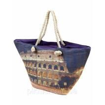 Сумка пляжна текстиль Колізей. Велика жіноча тканинна сумка на пляж