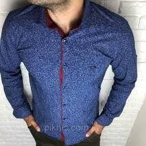 Сорочка чоловіча S, M, L, XL, XXL довгий рукав. Туреччина. Молодіжна турецька сорочка трансформер. Синій