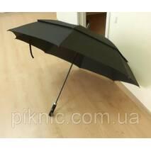 Велика сімейна, чоловіча парасолька тростина з клапаном. Напівавтомат. Антивітер. Діаметр куполу 134 см.