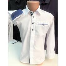 Рубашка школьная 2в1 для мальчиков 10,11,12 лет Длинный и короткий рукав, детская, слим Турция. Белая