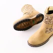 Бежевые кожаные ботиночки с блестками