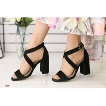 Женские босоножки на каблуке, черные замшевые 37