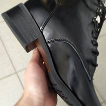 Ботинки черные кожаные на шнуровке демисезонные 34