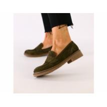 Женские замшевые туфли цвета хаки 40
