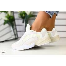 Женские бежевые замшевые кроссовки с белыми вставками, 37