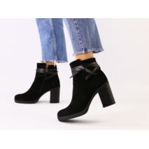 Женские демисезонные черные ботинки на каблуке, велюр и кожа