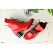 Женские демисезонные кожаные красные ботинки на каблуке