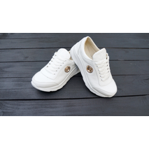 Белые кожаные кроссовки для девочки