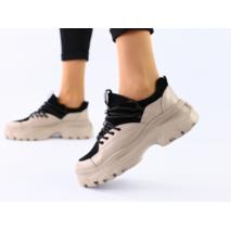 Женские бежевые кожаные кроссовки 36