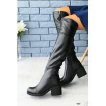 Женские демисезонные черные кожаные сапоги - ботфорты 37