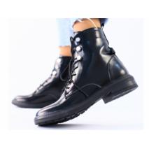 Женские демисезонные черные ботинки кожа наплак 38