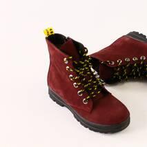 Зимние ботиночки из нубука бордового цвета