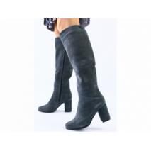 Женские зимние серые замшевые сапоги на каблуке 38