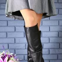 Женские зимние сапоги-европейка из натуральной кожи, черные