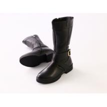 Зимние черные кожаные сапоги