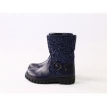 Зимние синие кожаные сапоги для девочки