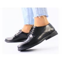 Женские черные кожаные туфли на шнуровке 36