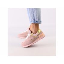 Женские розовые замшевые кроссовки с золотистыми кожаными вставками 40