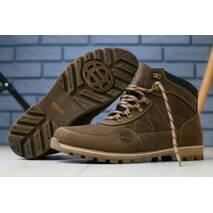 Мужские зимние ботинки коричневые, кожа crazy 44