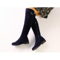 Зимние замшевые сапоги-ботфорты синие