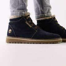 Зимние синие ботиночки из нубука