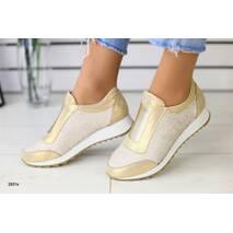 Женские кроссовки золотистые с пайетками 37