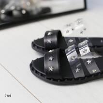 Женские кожаные шлепанцы черные из силиконовыми вставками 36