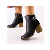 Женские черные ботинки кожа и велюр 38