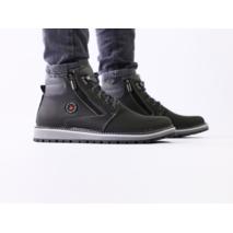 Зимние кожаные черные мужские ботинки на шнурках