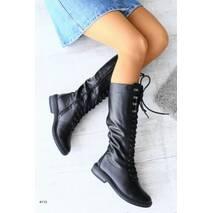Женские зимние черные кожаные сапоги на шнуровке, 34