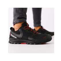 Мужские черные кроссовки сетка с черными кожаными вставками 46