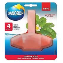 Блок для унитаза освежающий  Sanobon с ароматом клубники до 800 сливов 55 гр.