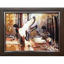 """Картина з бурштину """"Полювання. Дикі качки"""" 30х40 см"""