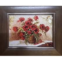 """Картина из янтаря """"Натюрморт с маками"""" 15х20 см"""