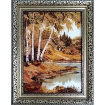 """Картина з бурштину """"Берези біля річки"""" 20х30 см"""
