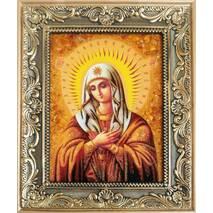 """Ікона Богородиці з бурштину """"Розчулення"""" 15х20 см без скла"""
